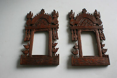 Pair of Antique Chinese Oriental Wooden Carved Photo Picture Frame