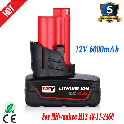 For Milwaukee M12 12 Volt XC 6.0Ah Extended Capacity Battery 48-11-2460