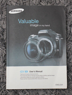 Samsung GX 1s User's Manual Book (genuine paper copy received with the camera)