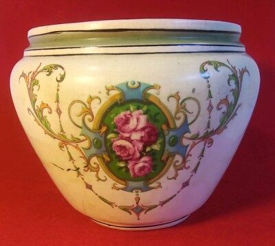 "Antique French Victorian Porcelain Jardiniere Hand Painted Planter. 6"" Tall."