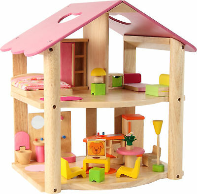 *NEW wooden toy PINK DOLL HOUSE DOLLSHOUSE + FURNITURE pretend play CHILD'S GIFT