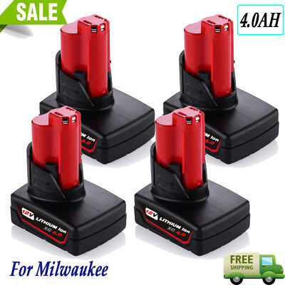 4 X For Milwaukee M12 48-11-2440 48-11-2460 LITHIUM XC4.0 12Volt Battery