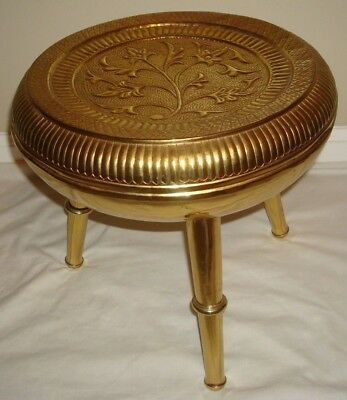 Antique Brass Foot Stool Footstool Raised Relief Decoration Rare