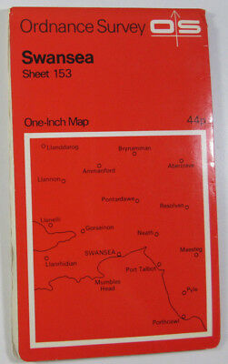 Old Vintage 1966 OS Ordnance Survey Seventh Series One-Inch Map 153 Swansea