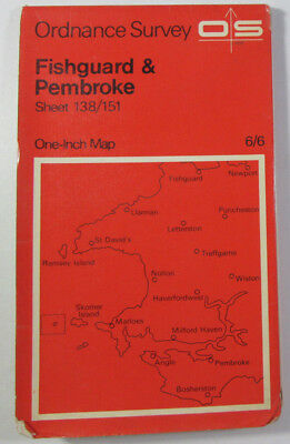 1965 OS Ordnance Survey Seventh Series One-Inch Map 138/151 Fishguard & Pembroke