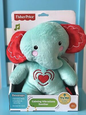 Fisher Price Calming Vibrations Soother Cuddle Toy for Babies Blue Elephant 👶🏻
