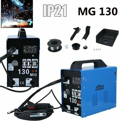 Mig 130 Portable Welder 230V No Gas Gasless Mig Flux Welding Mask Machine Kit Uk
