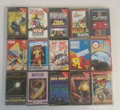 15 X Commodore 64 Games Cassettes - Joblot Inc Jet Set Willy, Rattler ( Ab4)