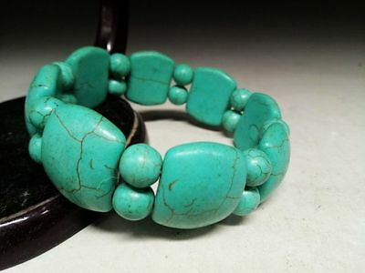 Beautiful Chinese Natural Turquoise Bead Weave Elastic Bracelet