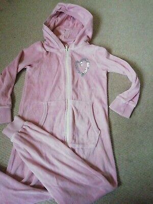 Girls Pink Sleepsuit / All in one  / one piece/ Nightwear /  Age 7 Years Next
