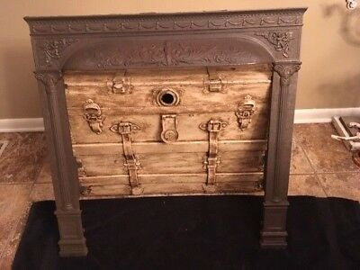 """Vintage Cast Iron Fireplace Surround Sea Nymph And Cherubs 30-3/8"""" Wide"""