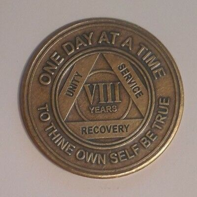 aa alcoholics anonymous bronze 8 year recovery sobriety  coin token medallion
