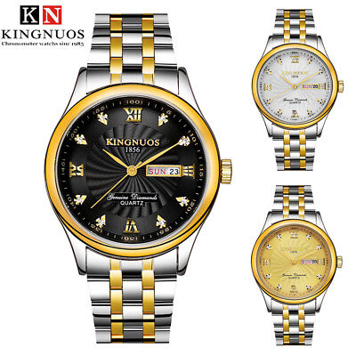 KINGNUOS Genuine Stainless Steel Watch Men Casual Business Quartz Wrist Watch