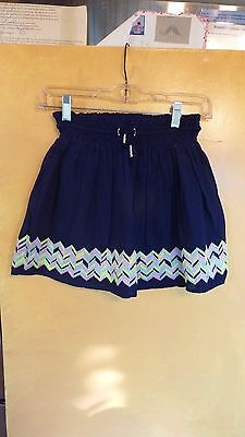 CAT&JACK NAVY COTTON EMBROIDERED A-LINE SKIRT   Girls SZ. M (7-8)   NWOT