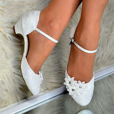 Ladies Low Heel Bridal Shoes Women Floral Satin Lace Wedding Strappy Pumps size