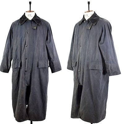 Men's Classic Navy BARBOUR BURGHLEY Waxed Cotton Outdoor Long Farmers Jacket 40