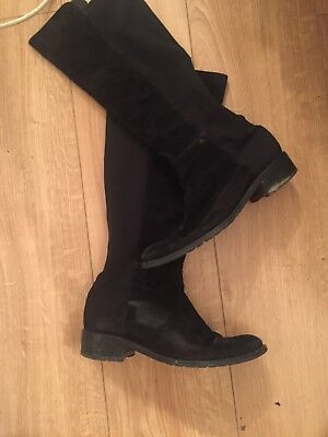 f98d3f7f184 PETER KAISER LEVKE Pull On Stretch Knee High Boots in Black Suede ...