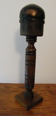 A Vintage French Wooden Wig Hat Stand Block Shop Display #2