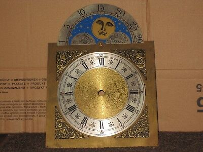 antique brass clock face, sun & moon,