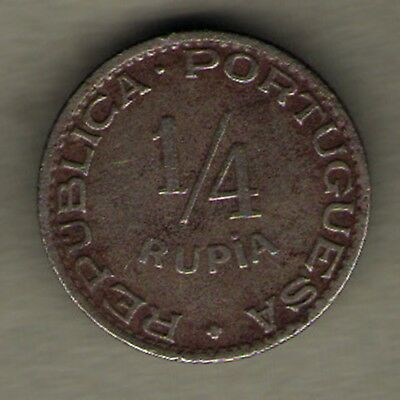 Portugese India Goa - 1947 - 1/4 Rupee - Rare Coin
