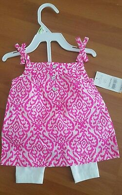 NWT Carters Baby Girls Pink & White Outfit Tank Top Leggings Set 3 Months NEW