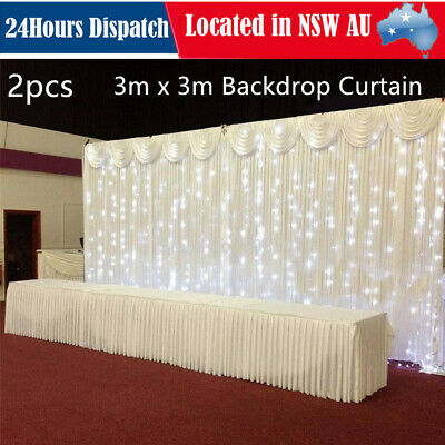 3x6M Wedding Backdrop Curtain WITH SWAG Event Party Decor Stage Background