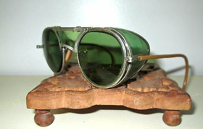 Antique Bausch & Lomb Green Safety Sunglasses Goggles Vtg Ray Ban Steampunk B&L