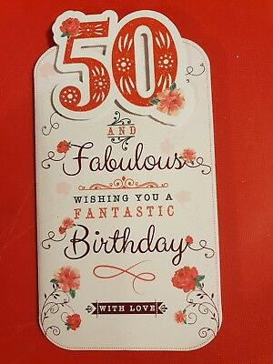 Happy 50th Birthday Card Male Female High Quality Red Glitter Rose Verse