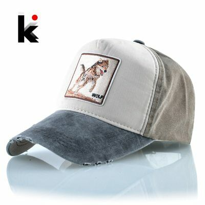 Snapback Hats For Men Wolf Pattern Embroidery Baseball Cap Women Spring Summer