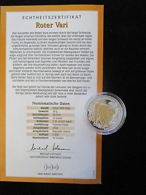 Liberia, 10 Dollars, 2004 PP, Roter Vari, Brillanten und Goldapplikation