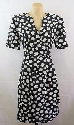 Size M 12 Ladies Black Dress Vintage 1980s Business Work Chic Casual Design