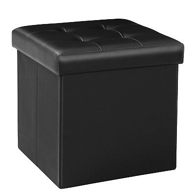 Bonlife Folding Storage Ottoman Faux Leather Footstool Space-saving Chest Roo...