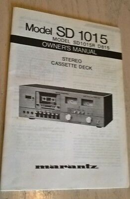 Marantz SD1015 Stereo Tape Cassette Deck Instruction Book Manual DS1015R D815