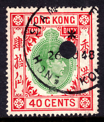 HONG KONG REVENUE #165 40c STAMP DUTY, 1937 KGVI, USED