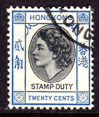 HONG KONG REVENUE #192 20c STAMP DUTY, 1954 QEII, USED