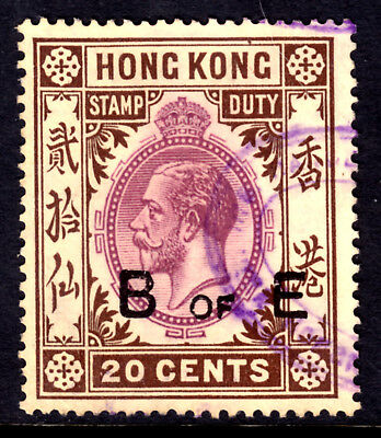 HONG KONG REVENUE #38 20c BILL OF EXCHANGE, 1912 KGV, USED