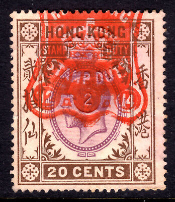 HONG KONG REVENUE #88 20c STAMP DUTY, 1912 KGV, USED