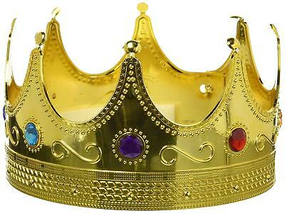 Royal King's Crown Kings And Queens Regal Dress-Up Halloween Party Costume Gold