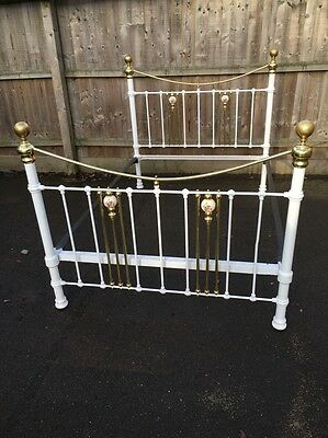 Vintage White Cast Iron Brass Porcelain Double Bed Sweet Dreams Tasteful Slumber