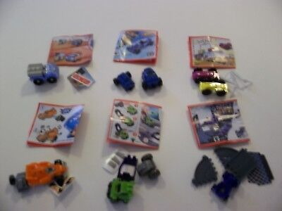 6 Assorted CARS, KINDER Surprise Egg Shells/Capsules & Toys (No Candy)