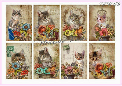Vintage Shaby Chic Victorian Cats Fabric Block Quilt Pillow Stocking Set FB 179
