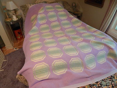 Vtg 1950S 60S Camp Blanket Cotton Soft Circle Pattern Purple Cream And Green