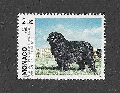 Dog Art Full Body Study Portrait Postage Stamp NEWFOUNDLAND Monaco 1993 MNH