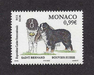 Art Portrait Postage Stamp BERNESE MOUNTAIN SAINT ST BERNARD DOG Monaco 2002 MNH