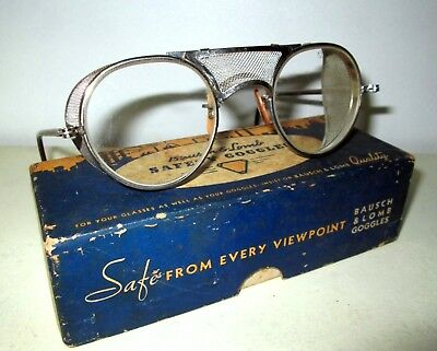 Antique Bausch & Lomb Goggles Safety Glasses Vtg Ray Ban Steampunk B&L Specs OG