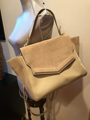 NEW Halston Heritage Beige Large Mixed Media Satchel Leather Purse Bag 14bb2f3dcb251