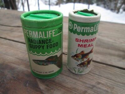 VINTAGE PERMALIFE RADIANCE FISH GUPPY SHRIMP MEAL FOOD 2 CONTAINERS 60s - 70s
