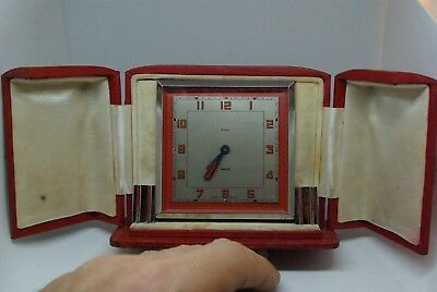 Smiths Art Deco Chrome & Red Enamel Eight Day Boudoir Clock. In Original Case