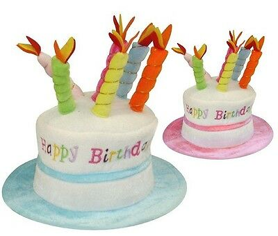Adult Happy Birthday Hat Cake With Mock Candles Gift 2 Colours New
