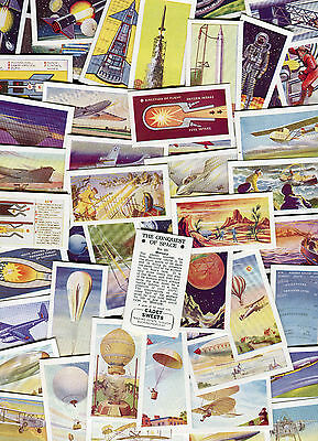 "Cadet Sweets 1957 Set Of 50 ""the Conquest Of Space"" Space Travel Trade Cards"